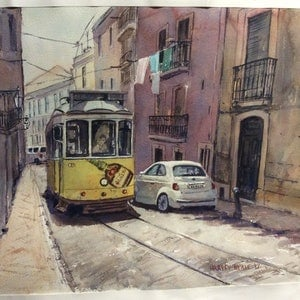 (CreativeWork) Lisbon Tram 2017 by Harvey Neale. watercolour. Shop online at Bluethumb.