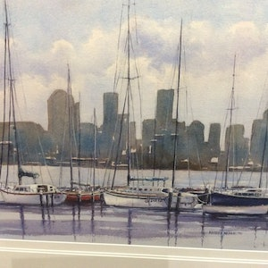 (CreativeWork) Williamstown by Harvey Neale. watercolour. Shop online at Bluethumb.