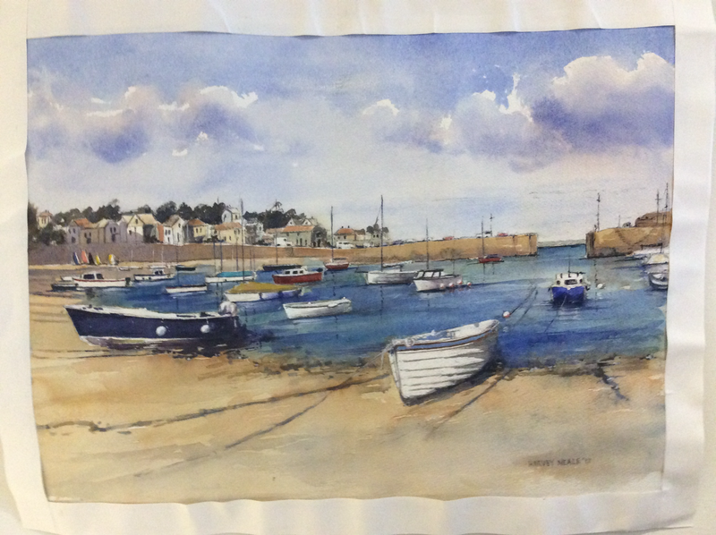 (CreativeWork) Low Tide, Cornwall by Harvey Neale. watercolour. Shop online at Bluethumb.