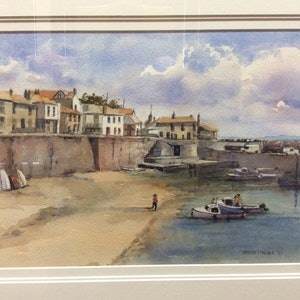 (CreativeWork) Safe Harbour, Cornwall by Harvey Neale. watercolour. Shop online at Bluethumb.