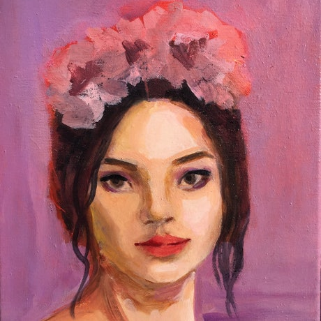 (CreativeWork) Flower Crown 1 - Shades of Lilac by Elizabeth Braun. Oil Paint. Shop online at Bluethumb.