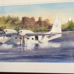 (CreativeWork) Seaplane, Mitchell River, Kimberley by Harvey Neale. watercolour. Shop online at Bluethumb.