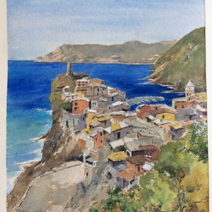(CreativeWork) Amalfi Headland, Italy by Harvey Neale. watercolour. Shop online at Bluethumb.