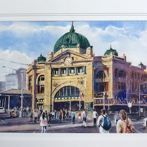 (CreativeWork) Flinders Street Station by Harvey Neale. watercolour. Shop online at Bluethumb.