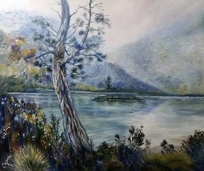 (CreativeWork) 'Old Pine'  Dove Lake, Cradle  Mountain, Tas. by Susan Capan. oil-painting. Shop online at Bluethumb.