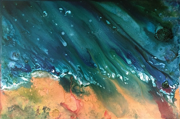 """(CreativeWork) """"Green And Gold Flow"""" by David Clare. Acrylic Paint. Shop online at Bluethumb."""