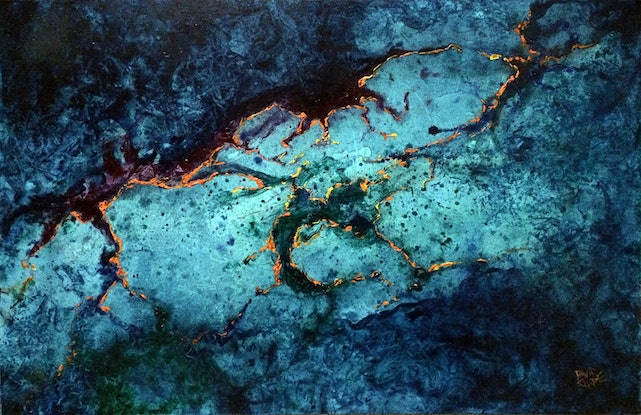 """(CreativeWork) """"Space Tentacles"""" by David Clare. Oil Paint. Shop online at Bluethumb."""