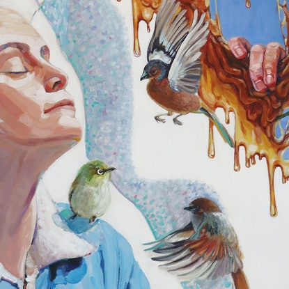 (CreativeWork) The birds and the bees by Madeline Hutchinson. Acrylic Paint. Shop online at Bluethumb.