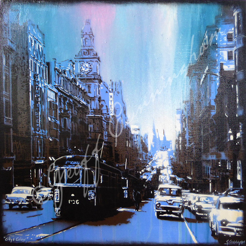 (CreativeWork) City & Colour by Geoff Cunningham. mixed-media. Shop online at Bluethumb.