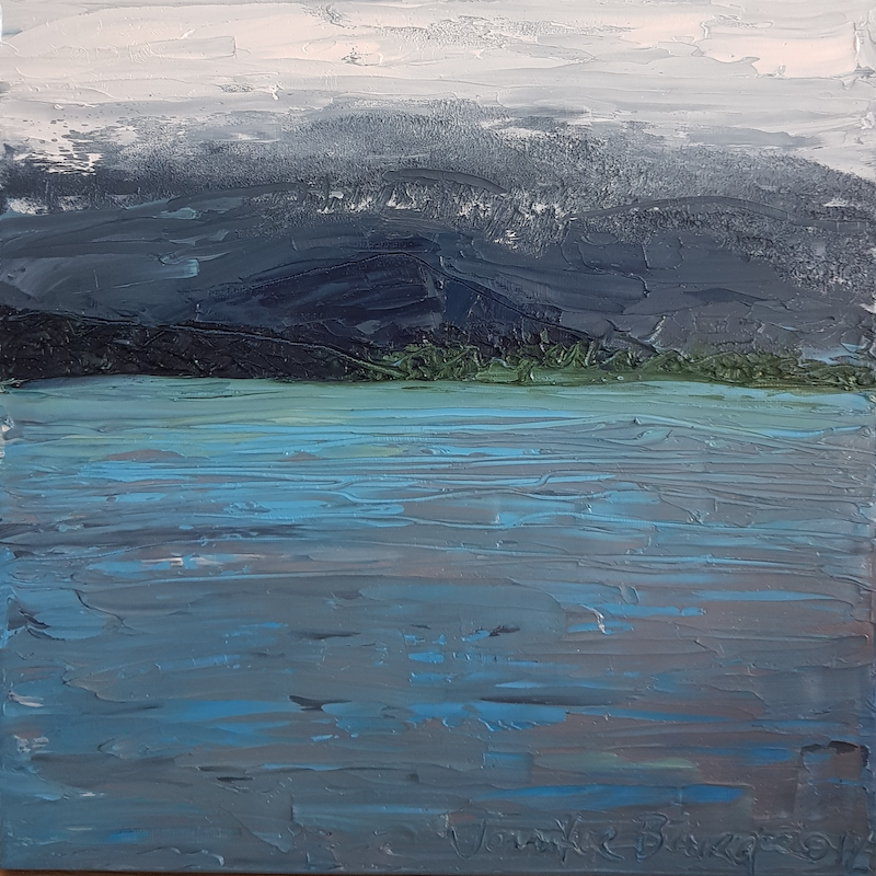 (CreativeWork) The Inlet. by Jennifer Baird. oil-painting. Shop online at Bluethumb.