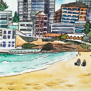 (CreativeWork) Bondi Beach - Afternoon Relaxation by Louise Tomlin. watercolour. Shop online at Bluethumb.