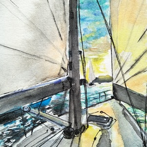 (CreativeWork) Sydney Harbour - Twilight Sail by Louise Tomlin. watercolour. Shop online at Bluethumb.