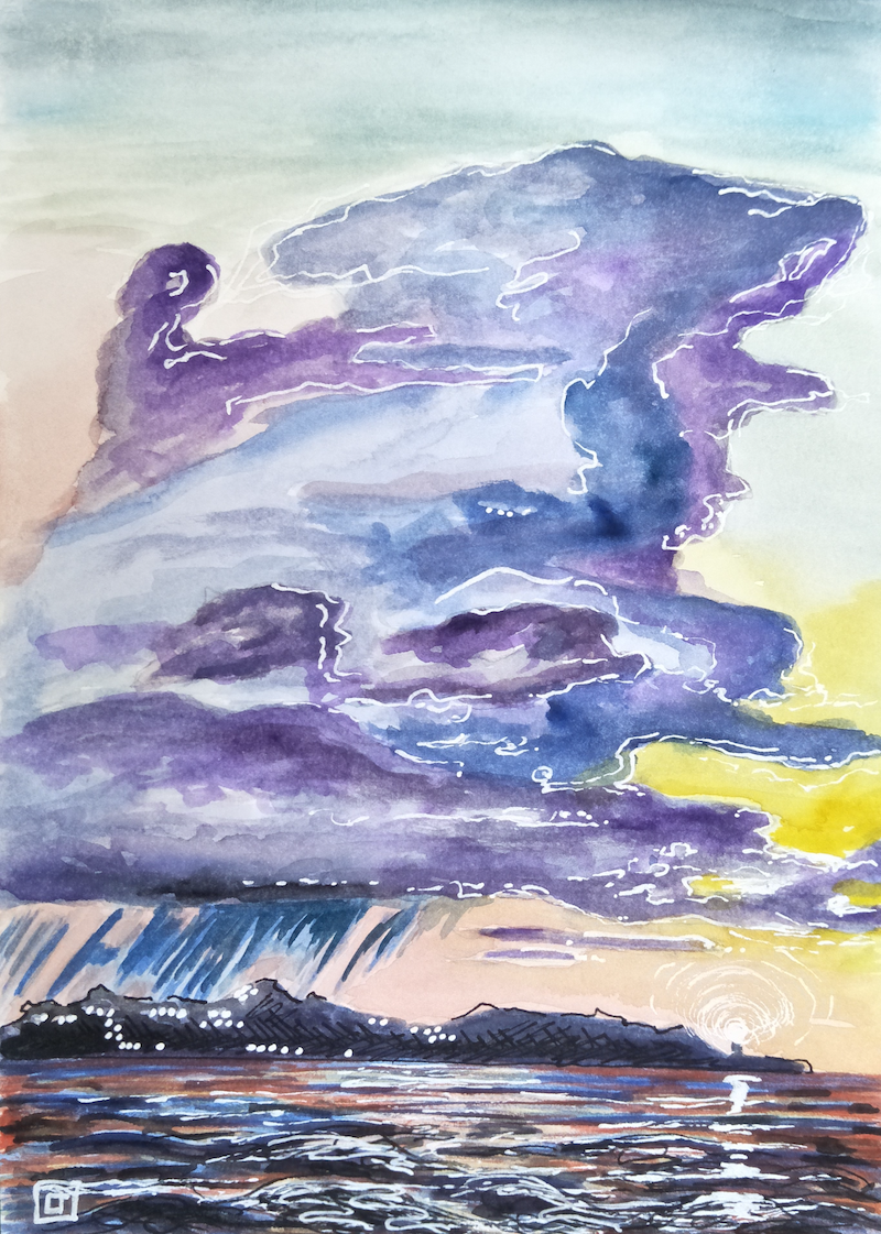 (CreativeWork) Byron Bay - Lighthouse by Louise Tomlin. watercolour. Shop online at Bluethumb.