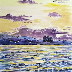 (CreativeWork) Byron Bay - Sunset Over Ocean by Louise Tomlin. watercolour. Shop online at Bluethumb.