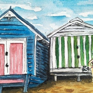 (CreativeWork) Mother's beach - Ready for a Dip by Louise Tomlin. watercolour. Shop online at Bluethumb.