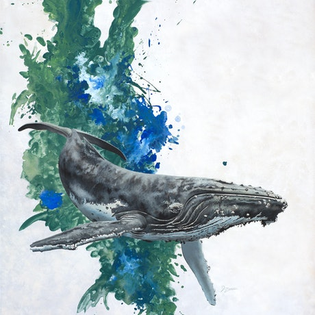 (CreativeWork) 'Green and Blue Seas' Humpback Whale by Dario Zanesco. Acrylic Paint. Shop online at Bluethumb.