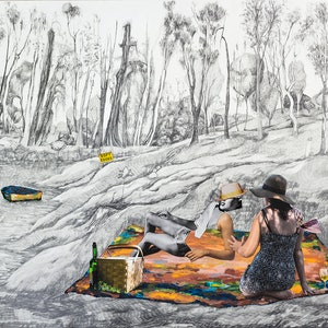 (CreativeWork) Luncheon on the Clarence  by Rochelle Summerfield. drawing. Shop online at Bluethumb.