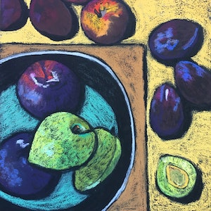 (CreativeWork) Plums by Charlotte Kimberlee. other-media. Shop online at Bluethumb.