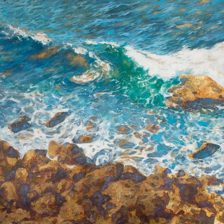 (CreativeWork) Seacliff waves by Michelle Angelique. Mixed Media. Shop online at Bluethumb.