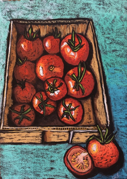 (CreativeWork) Farmers Market Tomatoes by Charlotte Kimberlee. other-media. Shop online at Bluethumb.