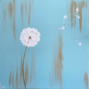 "(CreativeWork) ORIGINAL ABSTRACT ART PAINTING ON STRETCHED CANVAS ""WISHES"" DANDELION TURQUOISE SEA GREEN WHITE by Debra Ryan. mixed-media. Shop online at Bluethumb."