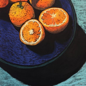 (CreativeWork) Oranges in Blue Bowl by Charlotte Kimberlee. other-media. Shop online at Bluethumb.