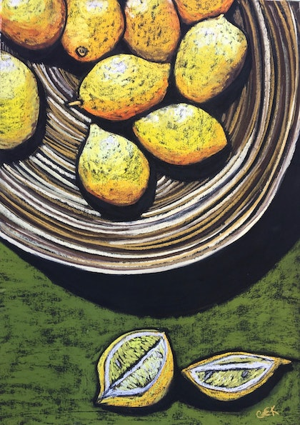 (CreativeWork) Lemons in Bamboo Bowl by Charlotte Kimberlee. other-media. Shop online at Bluethumb.