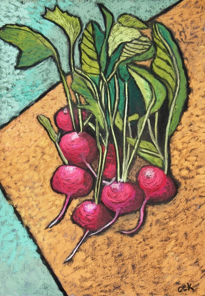(CreativeWork) Radishes by Charlotte Kimberlee. other-media. Shop online at Bluethumb.