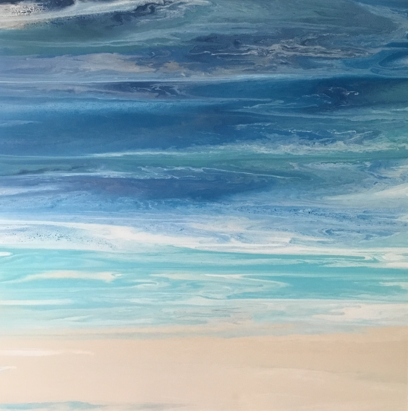 "(CreativeWork) ORIGINAL ABSTRACT ART PAINTING ON STRETCHED CANVAS  ""Waikiki"" HAWAII  BLUE TURQUOISE SAND SEA WHITE OCEAN BEACH COAST COVE  by Debra Ryan. mixed-media. Shop online at Bluethumb."