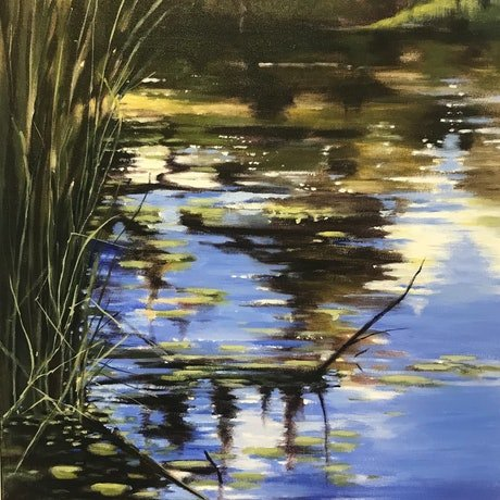 (CreativeWork) A Walk By The Lake by Leanne Manns. Acrylic Paint. Shop online at Bluethumb.