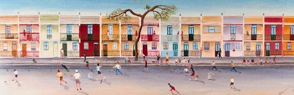 (CreativeWork) Harris Street Street Cricket by Mike Rule. oil-painting. Shop online at Bluethumb.