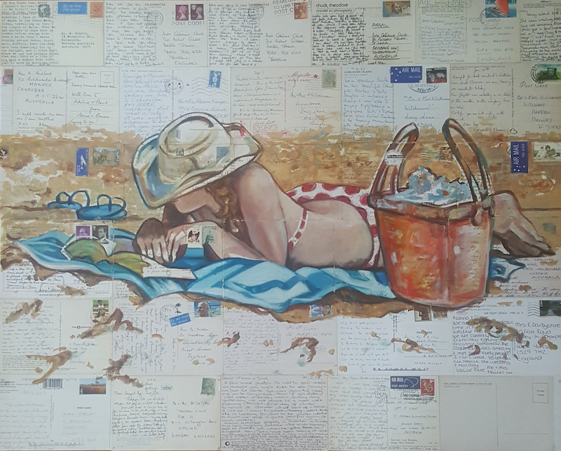 (CreativeWork) Beach Reading by Sherry McCourt. oil-painting. Shop online at Bluethumb.