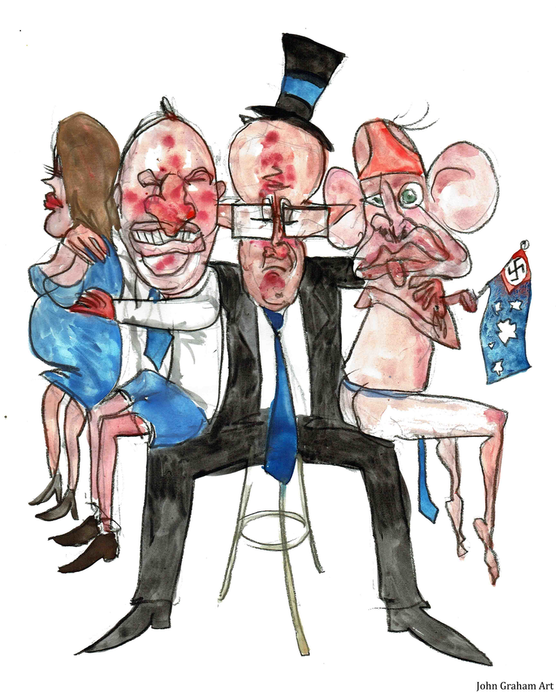 (CreativeWork) John Graham Cartoons - Prblematic Relationships with Barnaby,Vikki, Malcolm and Tony  by John Graham. mixed-media. Shop online at Bluethumb.