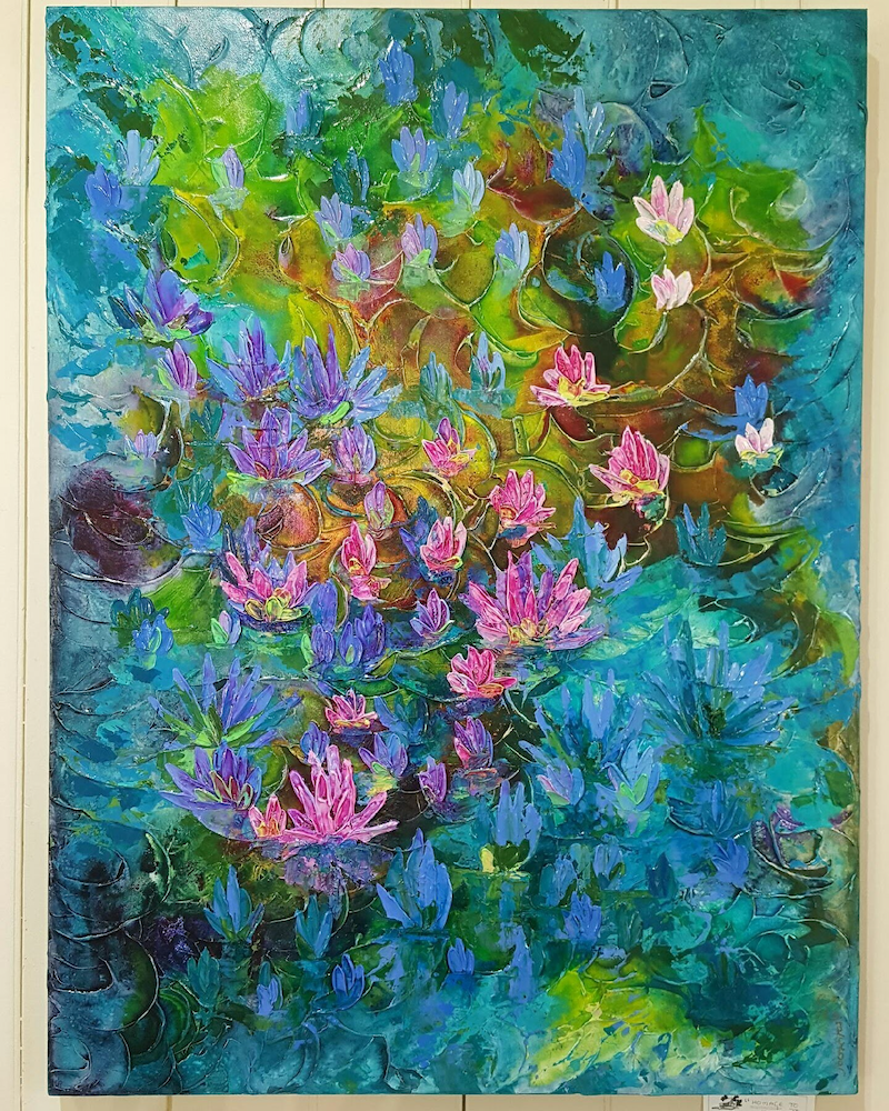 "(CreativeWork) "" Monets' Waterlillies ""  Ed. 1 of 100 by Junita Grosvenor. print. Shop online at Bluethumb."