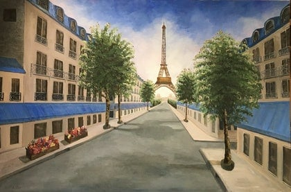 "(CreativeWork) ""Paris in Summer"", Large Original Oil, 153 x 103 cm, Unframed by Susan Kotler. oil-painting. Shop online at Bluethumb."
