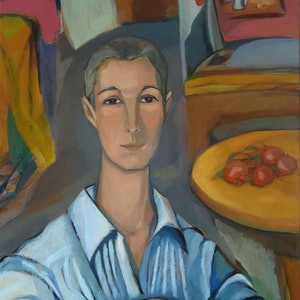 (CreativeWork) Stephanie at the studio  by Liza Merkalova. oil-painting. Shop online at Bluethumb.
