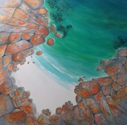 (CreativeWork) Fractured Coast Seascape, Tasmania  by Lindy Whitton. arcylic-painting. Shop online at Bluethumb.