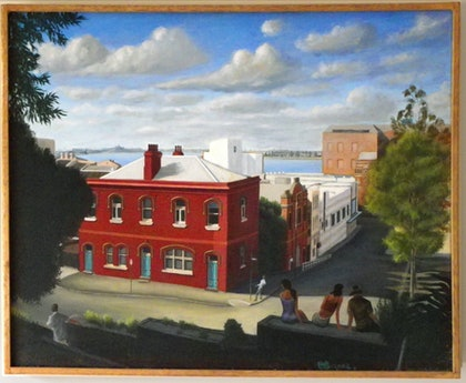 (CreativeWork) Newcastle Street Corner by Mike Rule. oil-painting. Shop online at Bluethumb.