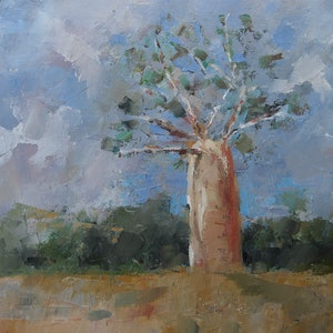 (CreativeWork) Bottle tree.No.1 by Trevor Salisbury. oil-painting. Shop online at Bluethumb.