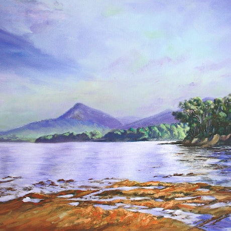 (CreativeWork) Reflections - Bruny Is Tasmania by Pauline Johnson. Oil Paint. Shop online at Bluethumb.