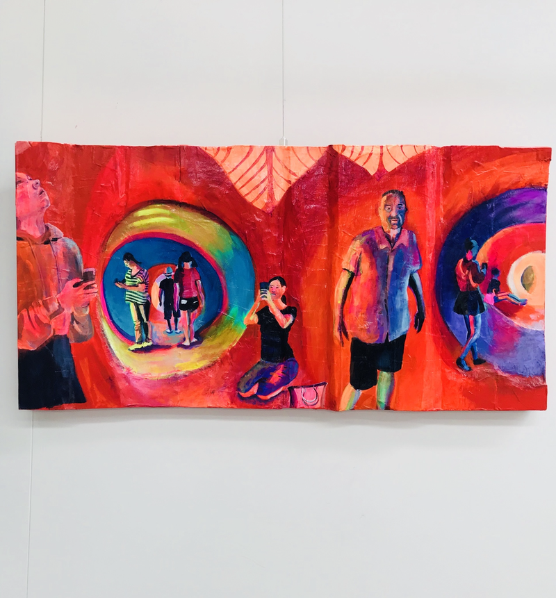 (CreativeWork) Inside The Inflatble! by Alison Pilcher. arcylic-painting. Shop online at Bluethumb.