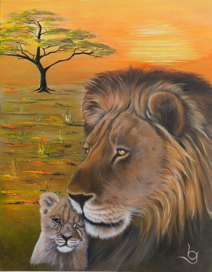 """(CreativeWork) """"CIRCLE OF LIFE by Lynne Gehrke. arcylic-painting. Shop online at Bluethumb."""