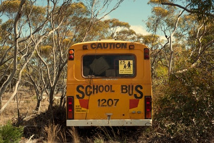 (CreativeWork) Mallee Bus by Alex Frayne. photograph. Shop online at Bluethumb.