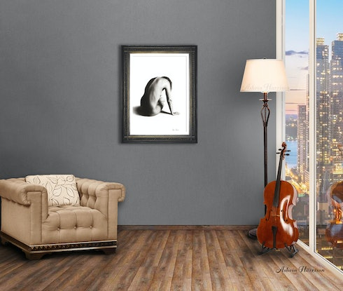 (CreativeWork) Nude Woman Charcoal Study 56 by Ashvin Harrison. Drawings. Shop online at Bluethumb.