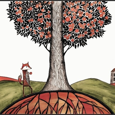 (CreativeWork) Fox found an orange by Jenny Wood. Mixed Media. Shop online at Bluethumb.