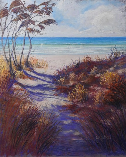 (CreativeWork) Beach Path on a Sunny Day.  Seascape.  by Lindy Whitton. other-media. Shop online at Bluethumb.