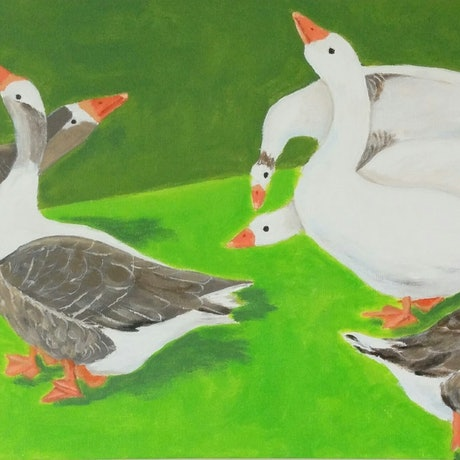(CreativeWork) GAGGLE OF GEESE by Bob Murphy. Acrylic Paint. Shop online at Bluethumb.