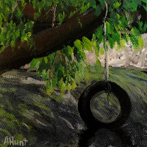 (CreativeWork) Tyre Swing by Amanda Hunt. arcylic-painting. Shop online at Bluethumb.