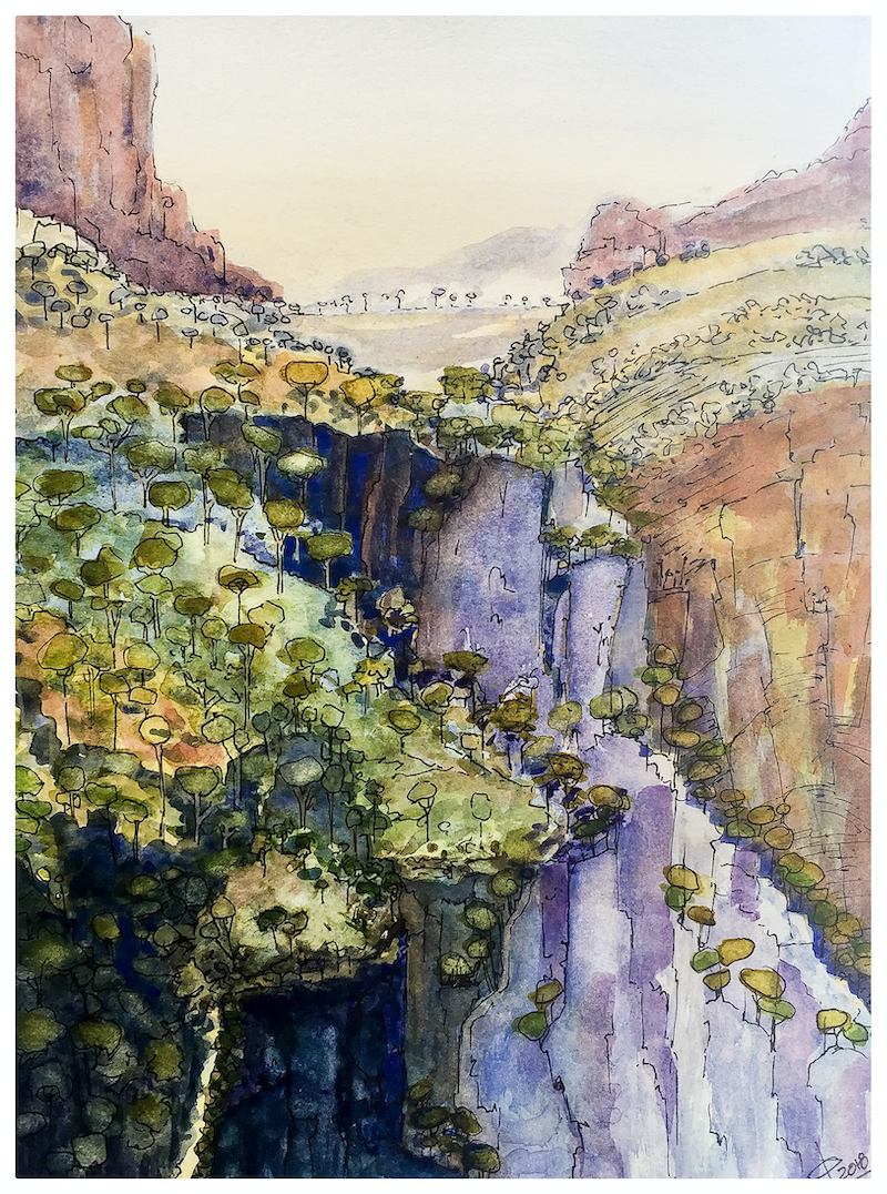(CreativeWork) The Gorge below by Caroline Deeble. mixed-media. Shop online at Bluethumb.