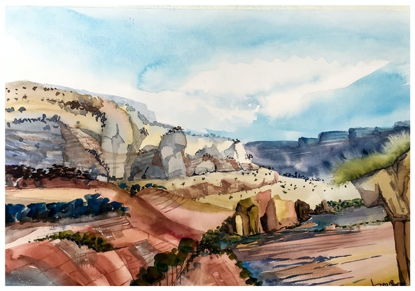 (CreativeWork) The valley of rocks - an Australian style  by Caroline Deeble. Watercolour Paint. Shop online at Bluethumb.